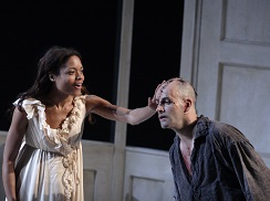 Elizabeth Lavenza (Naomie Harris) and The Creature (Jonny Lee Miller).
