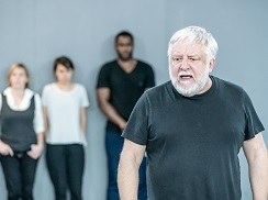 Simon Russell Beale and the Company in rehearsals. Photo by Marc Brenner